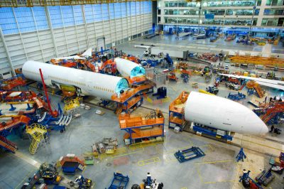 Hundreds of companies provide thousands of subsystems and parts for Boeing jetliners, including the 787-10 Dreamliner. These suppliers are under pressure from Boeing and other airframe manufacturers to accelerate their production rates. (Image © The Boeing Company)