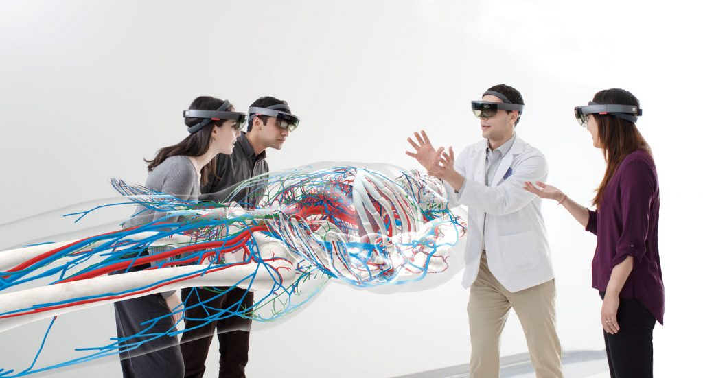 A group learning experience in HoloAnatomy was developed at Case Western Reserve University. (Image © Microsoft)