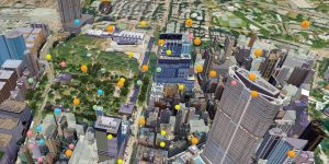 In this interactive 3D virtual twin of a city, created by international architecture and engineering firm Arup Group, the colored balloons represent different types of studies completed or being conducted by city departments. Each balloon links to information for its study. (Image © Arup Group)
