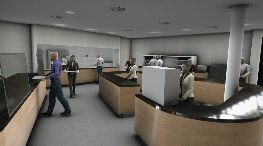 Outsourcing the simulation of virus-transmission risks to its software partner via an Outcome-Based Services engagement gave managers at GEA the insights they needed to safely reopen the company's cafeteria following the COVID-19 lockdowns. (Image © GEA)