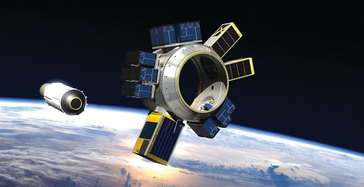 Commercial satellites account for nearly 75% of New Space business. Driven by lower costs for satellite manufacturing and launch, plus booming demand for internet connectivity  and Earth imagery, 2020 saw a record 955 satellites launched, eclipsing the 2019 record of 385. Microsoft's Azure Global, for example, has teamed with SpaceX Starlink to focus on  space-based cloud computing. Shown here: An artist's rendering of a spacecraft bus  deploying a SpaceX Starlink satellite, which will then propel itself into an orbital plane. (Image © SpaceX)