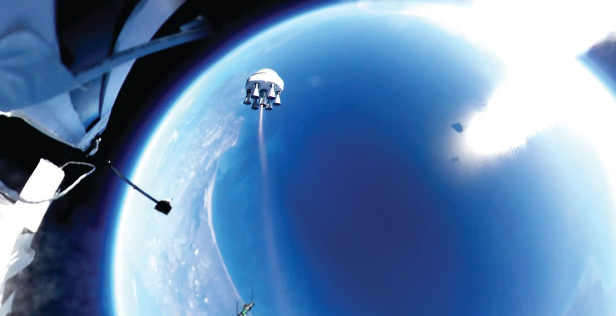Lowering the cost of putting satellites into orbit democratizes space development, and Zero 2 Infinity has patented and is implementing a low-cost method that also eliminates most of the pollution caused by rocket launches. The Barcelona-based business uses a balloon (partially visible on left edge of image) to lift a Bloostar pod to the upper edge of the Earth's atmosphere; Bloostar's low-cost 3D-printed rockets complete the journey. Then Bloostar opens and releases the satellite into its proper orbit. Zero 2 Infinity's process eliminates the need for complex launch vehicles and expensive launch sites, allowing for small satellite launches with lower environmental impacts and greater economic efficiency. (Image © Zero 2 Infinity)
