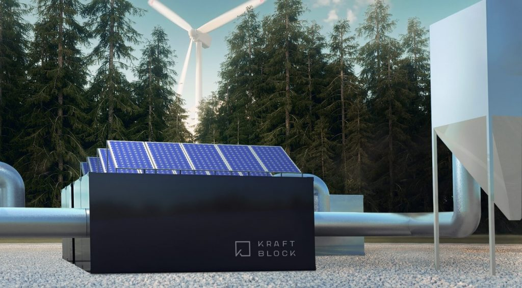 Kraftblock used the digital imagery capabilities of its business experience platform to create a photorealistic image of its thermal energy storage system in context of renewable wind and solar energy generation. (Image courtesy of Kraftblock)