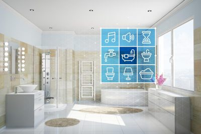 Bathroom with smart home technology interface for control and automation